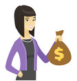 asian business woman holding a money bag vector image vector image