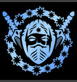 blue emblem with ninja vector image vector image