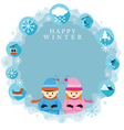 Boy and Girl in Winter Season Frame and Label vector image vector image