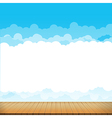 Brown wood floor with blue sky rainbow background vector image vector image