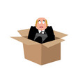 businessman scared in box frightened business man vector image