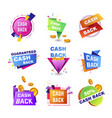 cashback bonuses banner tags for shopping vector image