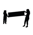 children silhouette hold card vector image vector image