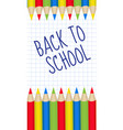 colored pencils frame for text back to school vector image vector image