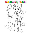 coloring book man holding rose vector image vector image