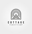 cottage retro logo vintage with sunburst symbol vector image vector image