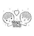 cute shells kawaii characters vector image