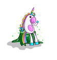 cute unicorn on stump in cartoon style vector image