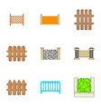 decorative fences icons set cartoon style vector image vector image