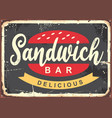 delicious sandwich for fast food restauran vector image