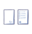 empty sheet of paper with signature and tips list vector image