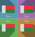 Flags Madagascar Set of colors flat design and vector image vector image