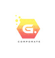 g orange hexagon shaped letter logo with bubbles vector image