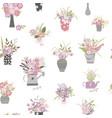garden plants hand draw cartoon seamless pattern vector image