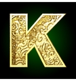 golden cutted figure k vector image