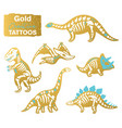 golden set with cartoon skeletons of dinosaurs vector image vector image