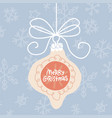 greeting card with hanging xmas tree baule vector image vector image