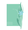Greeting or post card with blue flower Place text vector image