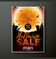 hallowen sale poster template with moon and bats vector image