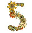 Hand Drawn Floral Number 5 vector image vector image