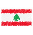 hand drawn national flag of lebanon isolated on a vector image