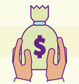 hand holding money bag treasure cartoon style vector image