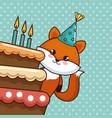 happy birthday card with cute fox vector image vector image