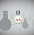 Idea concept with hanging light bulbs vector image vector image