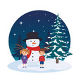 little kids with snowman in the landscape vector image