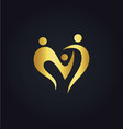 Love heart abstract family group gold logo