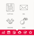 mail bomb and handshake icons vector image