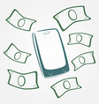 Money flying out of mobile phone vector image