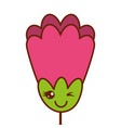 pink flower kawaii cartoon decoration vector image vector image