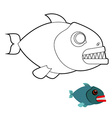 Piranha coloring book Terrible sea fish with large vector image vector image