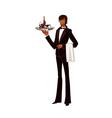 Portrait of waiter holding tray of bottle vector image
