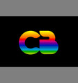 rainbow color colored colorful alphabet letter cb vector image vector image