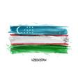 realistic watercolor painting flag uzbekistan vector image vector image