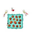 romantic prep by tiny people with champagne sweets vector image