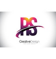 rs r s purple letter logo with swoosh design vector image vector image