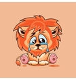 Sad Lion cub crying vector image vector image