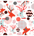 seamless new year pattern with portraits deer vector image