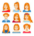 set of woman faces with various hairstyle vector image