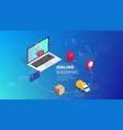shopping online isometric laptop vector image vector image