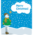 snowman with beautiful star vector image vector image