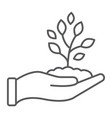 sprout in hand thin line icon farming vector image vector image