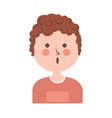 surprised boy with curly hair portrait on white vector image vector image
