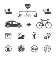 the benefits of the cyclist bicycle icons set vector image vector image