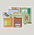 Top View Apartment Interior Detailed Plan vector image vector image