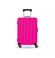 travel suitcase in pink color with wheels vector image vector image