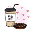 with coffee to go lettering vector image vector image